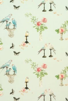 bird, campbel wallpap, wall accents, bathrooms decor, nina campbel
