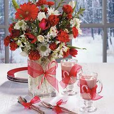 Red And White Wedding Flower Centerpieces and Table Decorations