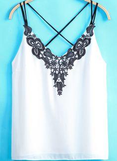 White Criss Cross Embroidered Chiffon Vest