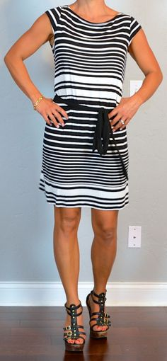 outfit post: black and white striped dress, gladiator heels