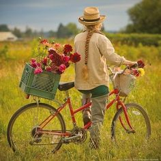 . field, bouquet, mothers day, bike rides, the view, growing flowers, basket, vintage bicycles, garden