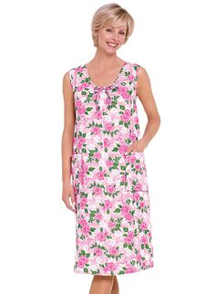 Sleeveless Shift. Cool and comfy zip-front shift in  a pretty floral print at www.amerimark.com. #sleevelessshift #amerimark #floralsundress #sundress