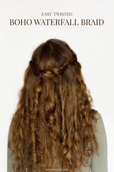 Easy Twisted Waterfall Braid | Bohemian Hair Tutorial