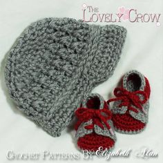 """Ravelry: Baby Booties and Hat """"Little Sport Set"""" pattern by Elizabeth Alan."""