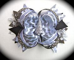 Silver, gray and black Christmas Bow