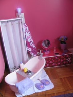 Frugal American Girl Doll Bathroom - includes some dollar store finds. its finds like this that really make my mind start turning, and wonder what more I can do!