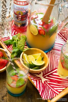Get fresh with a Strawberry Lime Summertime Vodka Punch for the 4th of July! 1 can of frozen limeade, 15 oz Smirnoff No. 21 vodka, 3 cups pineapple juice, 2 cups lemon-lime soda, and fresh or frozen strawberries, sliced limes, and a handful of basil for garnish. Stir together ingredients in a large pitcher and add crushed ice to serve. (Serves 10)