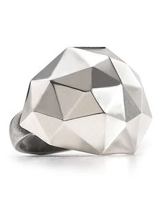 Contemporary Ring | Elizabeth And James Silver Geodesic Large Dome Ring