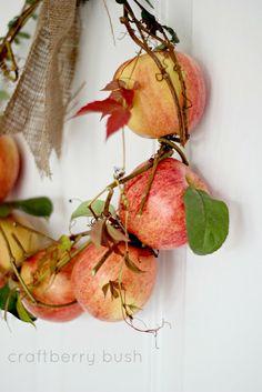holiday, autumn, apples, wreath addict, diy fall, fresh appl, wreaths, appl wreath