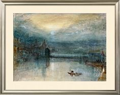 Lucerne by Moonlight: Sample Study, Circa 1842-3, Watercolour on Paper Stretched Canvas Print
