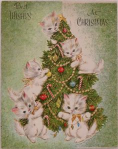 #1130 50s Unused Kitty Cats on the Tree-Vintage Christmas Greeting Card