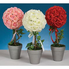 rose topiary trees or pomander balls set in pots or on candletsticks... use fire & ice roses for painted concept... maybe tie in some paintbrushes somehow?