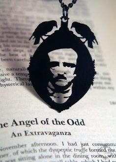 Edgar Allan Poe raven cameo necklace in black by FableAndFury, $32.00