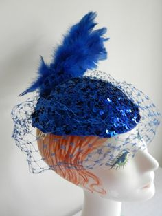 Vintage Blue Sequin with Feather Cocktail Hat by FrouFrou4YouYou, $75.00