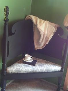 I love this! its a salvaged headboard corner bench. You could use it in a small entryway to take your shoes off!