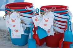 Beach Party gift buckets
