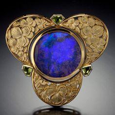 Art Nouveau Opal (?) Brooch