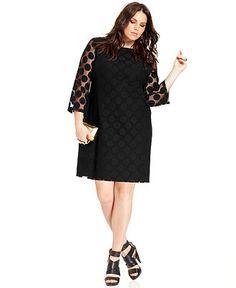 Style&co. Plus Size Dress, Three-Quarter-Sleeve Polka-Dot - Plus Size Dresses - Plus Sizes - Macy's