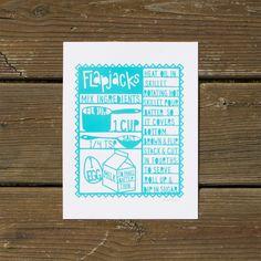 Flapjacks Silkscreen Print - Turquoise by Lori Danelle