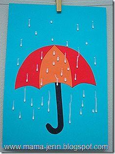 umbrella craft with glue raindrops
