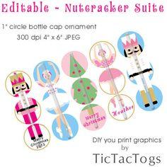 Instant Download - Editable Nutcracker Suite Ornament Bottle Cap Collage Digital Set 1 Inch Circle 4x6 Ballerina Christmas Tree