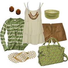 """green & brown"" by htotheb on Polyvore"