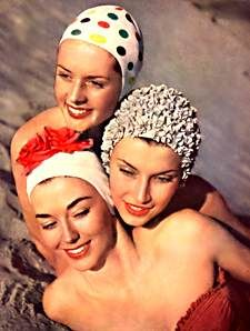 Swim caps, c. 1950's.  Ugh!  They were ugly, and your hair got wet anyway.