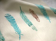 Wild Bird Feathers hand printed linen tea towel by giardino