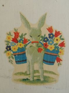 Primitive Mexican Wood Pitcher with Burro and flower baskets - by AGildedNest