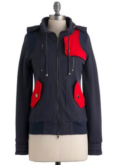 Leipzig Hoodie in Navy - Blue, Red, Color Block, Buttons, Exposed zipper, Pockets, Long Sleeve, Hoodie, Mid-length