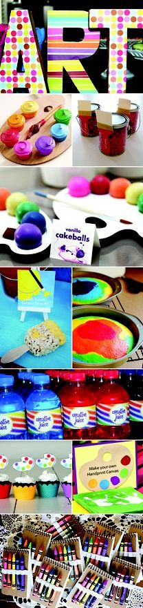Creative and Colorful Art or Painting Kids Birthday Party Inspiration and Ideas