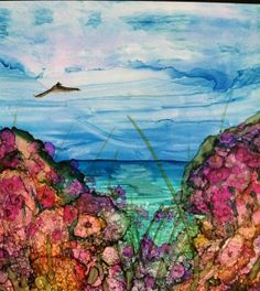 Alcohol Ink Painting  Rainbow Bay by bitsandpiecestoo on Etsy, $22.00