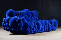cool sofa blue bubble couch