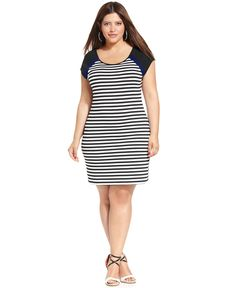 ING Plus Size Dress, Short-Sleeve Striped - Plus Size Dresses - Plus Sizes - Macy's