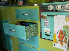 Cute paper attached to side of drawers | Farm Chicks Campout: Accessories and Neat Ideas