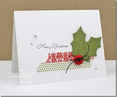 Add a button to some holly berry leaves and washi tape and you'll have a great and simple handmade Christmas card.