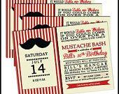 Mustache Birthday Party Invitation - any age