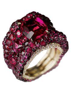 ruby & diamond Vagabonde ring by Faberge