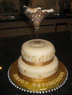 birthday and retirement cake
