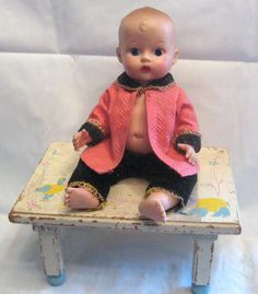 1950's Vogue Baby Jimmy With Painted Eyes & Ginette Baby Seat Tender - All Original
