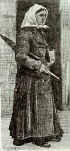Sien with Umbrella and Prayer Book - Vincent van Gogh
