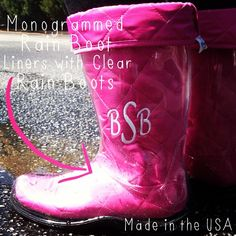 Monogrammed Rain Boot Liners with Clear RainBoots #MADEINTHEUSA #BootsByTwoAlity for #MarleyLilly