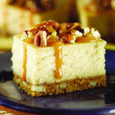 Caramel Pecan Cheesecake Squares...with a buttery pecan crumb crust
