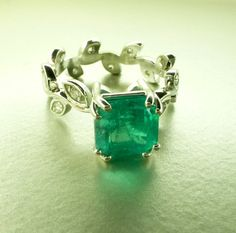 Emerald leaf ring by ValerieKStudio - unique jewelry