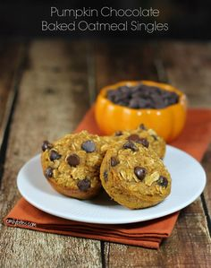 These Pumpkin Chocolate Baked Oatmeal Singles make a perfect grab-and-go breakfast for Fall, and they're only 121 calories each!