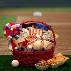 Baseball Gift Basket - Cute for centerpiece / gift for the birthday boy!