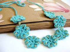Aqua Turquoise Crochet lace beaded necklace by emofoFashionDesing, $16.00