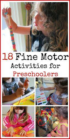 18 actividades de motricidad fina para niños en edad preescolar.  Me encanta cómo muchas de estas ideas de utilizar cosas que ya tiene en la casa.  # # Niños, educación