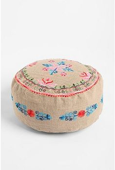 Fleur Embroidered Pouf