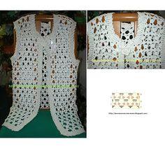 Chaleco tejido en crochet en hilo de algodón. tejido en, de algodón, en hilo, crochet en, chaleco tejido, hilo de, blusa dama, bella manualidad